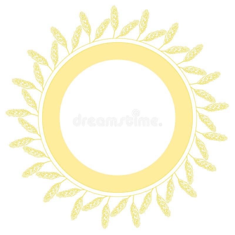 Венок пшеницы изолированный на белой предпосылке Круглая рамка колосков пшеницы с космосом для текста Иллюстрация вектора в кварт иллюстрация вектора