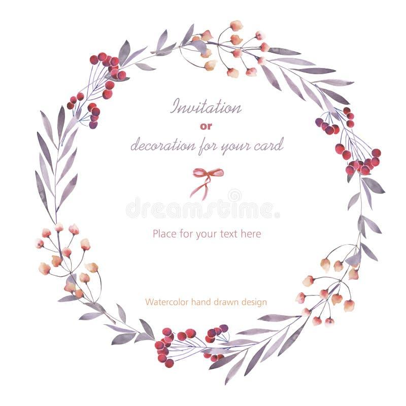 Венок (рамка круга) ягод, ветвей и цветков, руки нарисованной в акварели на белой предпосылке иллюстрация вектора