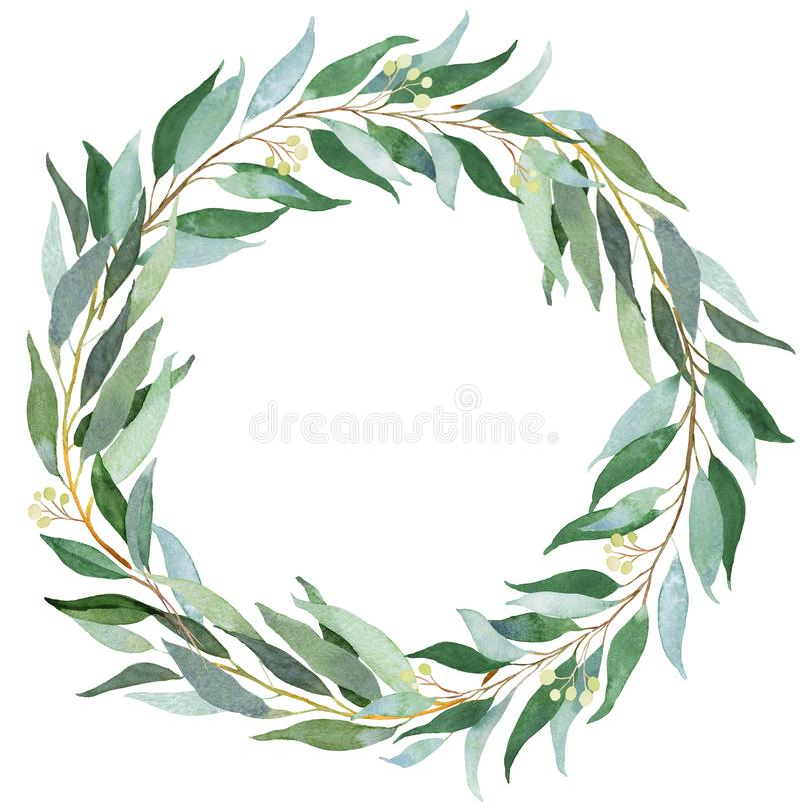 Венок растительности свадьбы Иллюстрация акварели с евкалиптом иллюстрация штока
