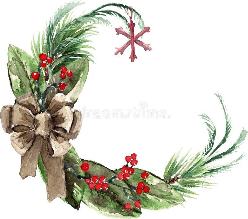 Венок рождества акварели скандинавский иллюстрация штока