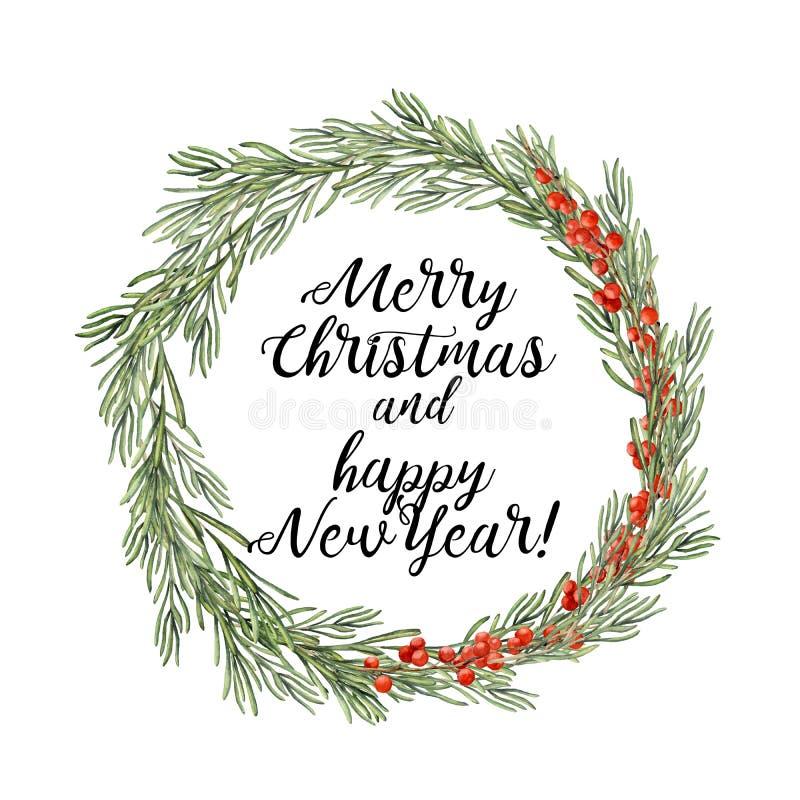 Венок рождества акварели флористический с розмариновым маслом и ягодой Вручите покрашенную ветвь розмаринового масла, и красную я бесплатная иллюстрация