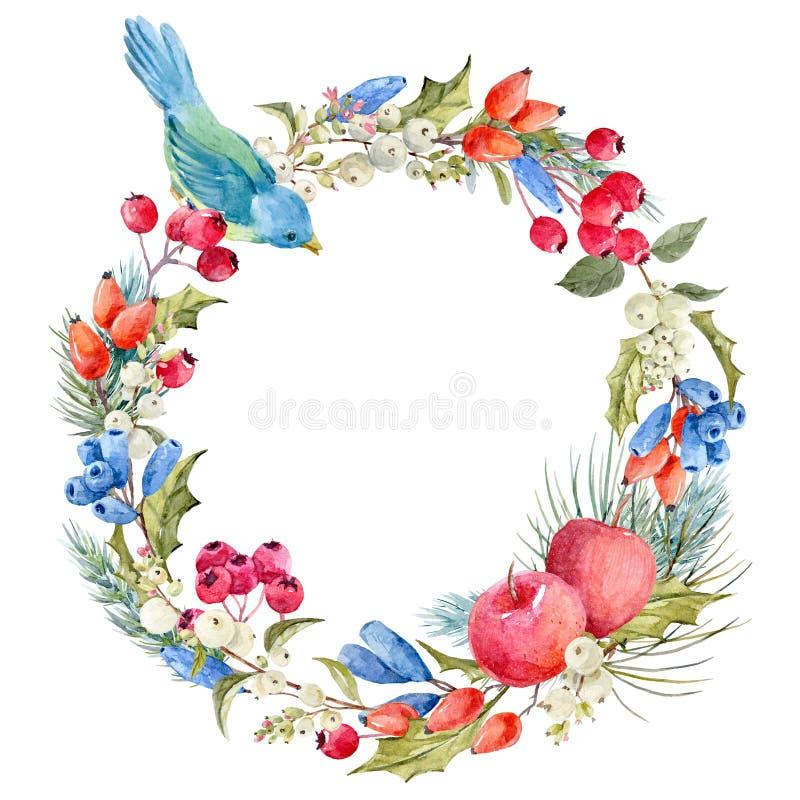 Венок рождества зимы акварели флористический бесплатная иллюстрация