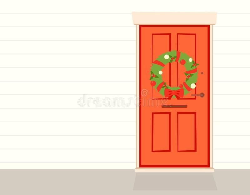 Венок рождества на двери иллюстрация вектора
