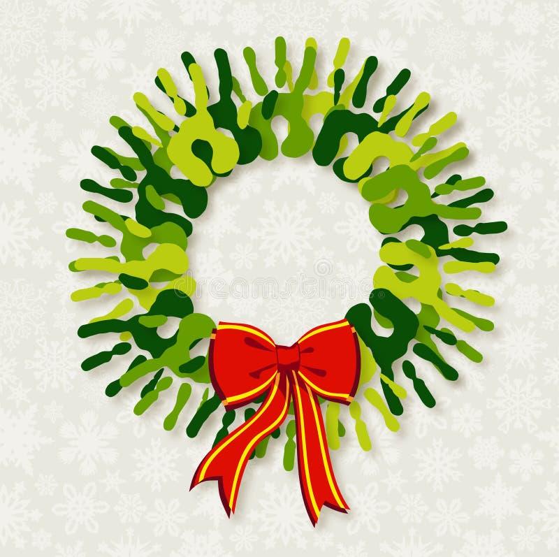 Венок рождества рук разнообразности зеленый. иллюстрация вектора