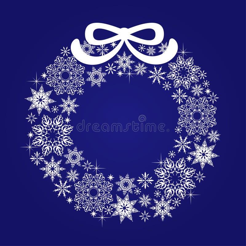 Венок рождества снежинок с смычком на голубой предпосылке иллюстрация вектора