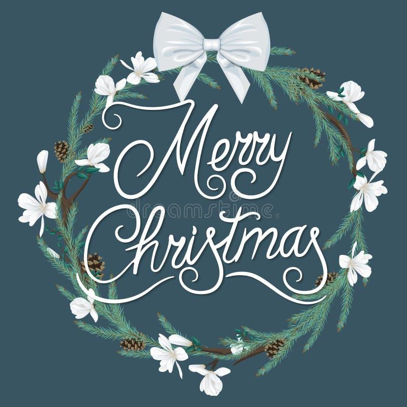 Венок рождества с белыми цветками, елевыми ветвями и смычком иллюстрация вектора