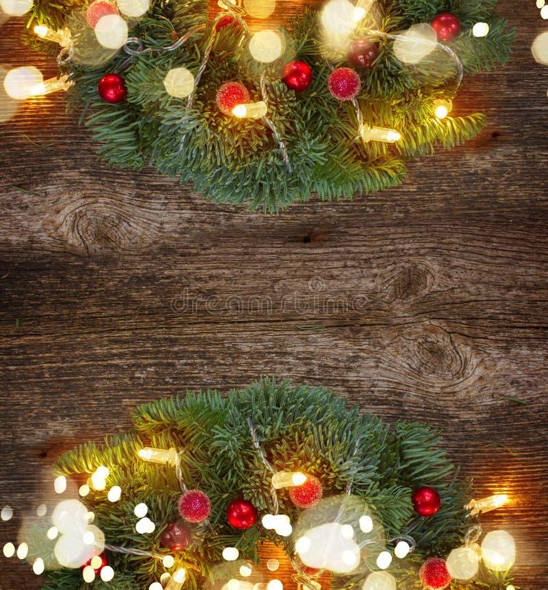 Венок рождества с светами стоковое изображение