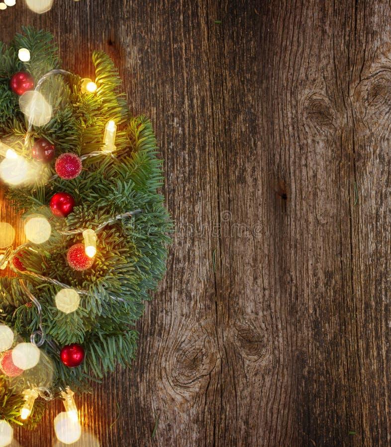Венок рождества с светами стоковое фото rf