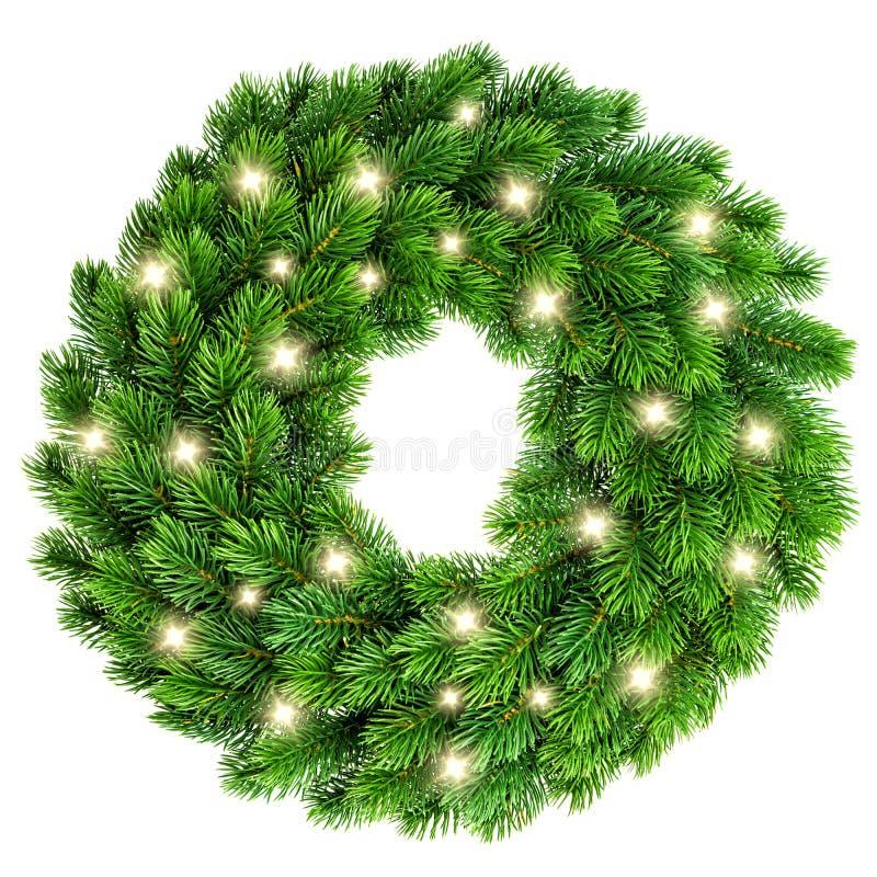 Венок рождества при золотое украшение светов изолированное на белизне стоковые фотографии rf