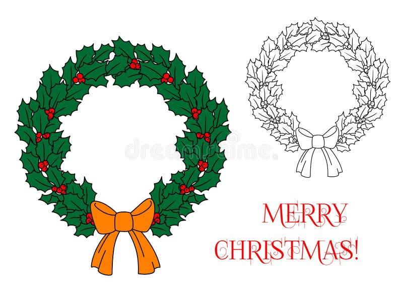 Download Венок рождества с падубом и ягодами Иллюстрация вектора - иллюстрации насчитывающей декоративно, приветствие: 33733895