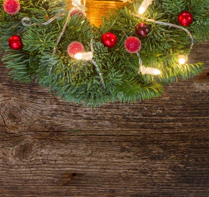 Венок рождества с светами стоковая фотография rf