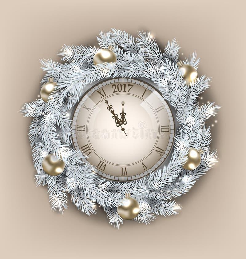 Венок рождества с часами и золотые шарики на счастливый Новый Год 2017 иллюстрация вектора