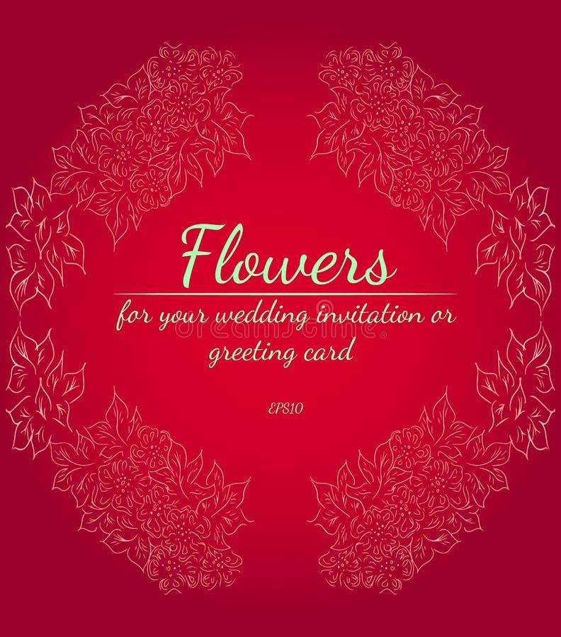 Венок роз или цветков пионов с красным цветом, кармином, заходом солнца, fringy цветами градиента цветка Флористические элементы  стоковые фото