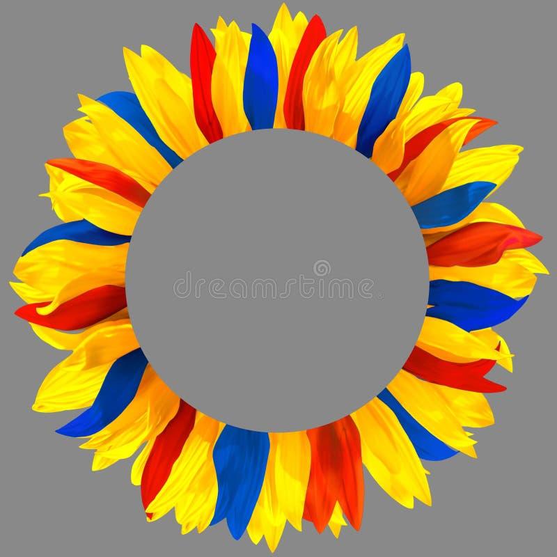 Венок сделанный из желтых, красных, голубых лепестков стоковые фотографии rf