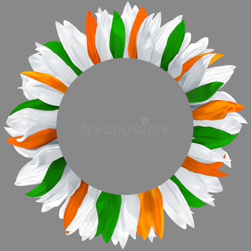 Венок сделанный из зеленых, оранжевых и белых лепестков стоковое изображение