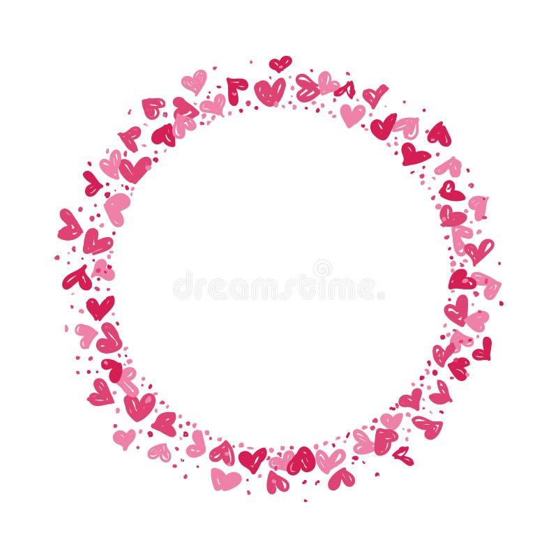 Венок сделанный из сердец иллюстрация штока