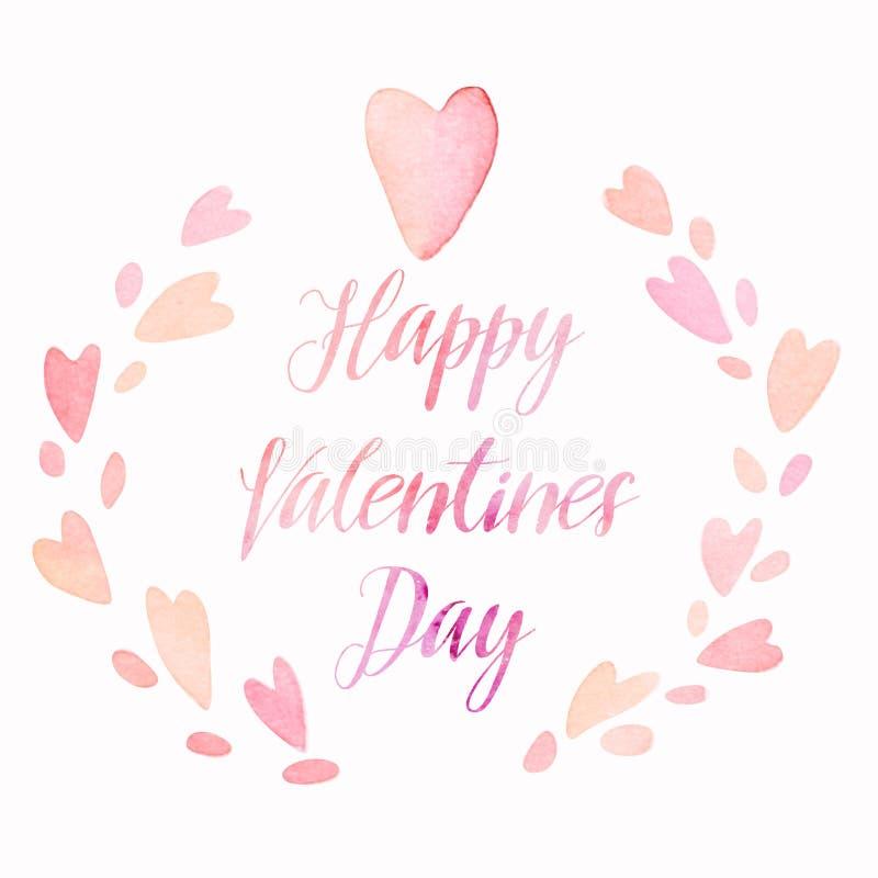 Венок сердец акварели kawaii дня валентинок милый с литерностью, планом карточки праздника бесплатная иллюстрация
