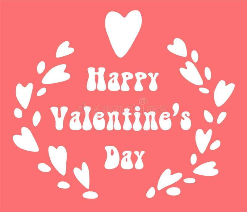 Венок сердец kawaii дня валентинок милый с литерностью, планом карточки праздника вектора бесплатная иллюстрация