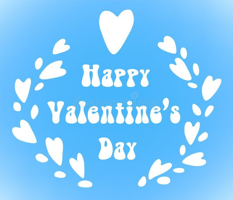 Венок сердец kawaii дня валентинок милый с литерностью, планом карточки праздника вектора на небесно-голубом иллюстрация вектора