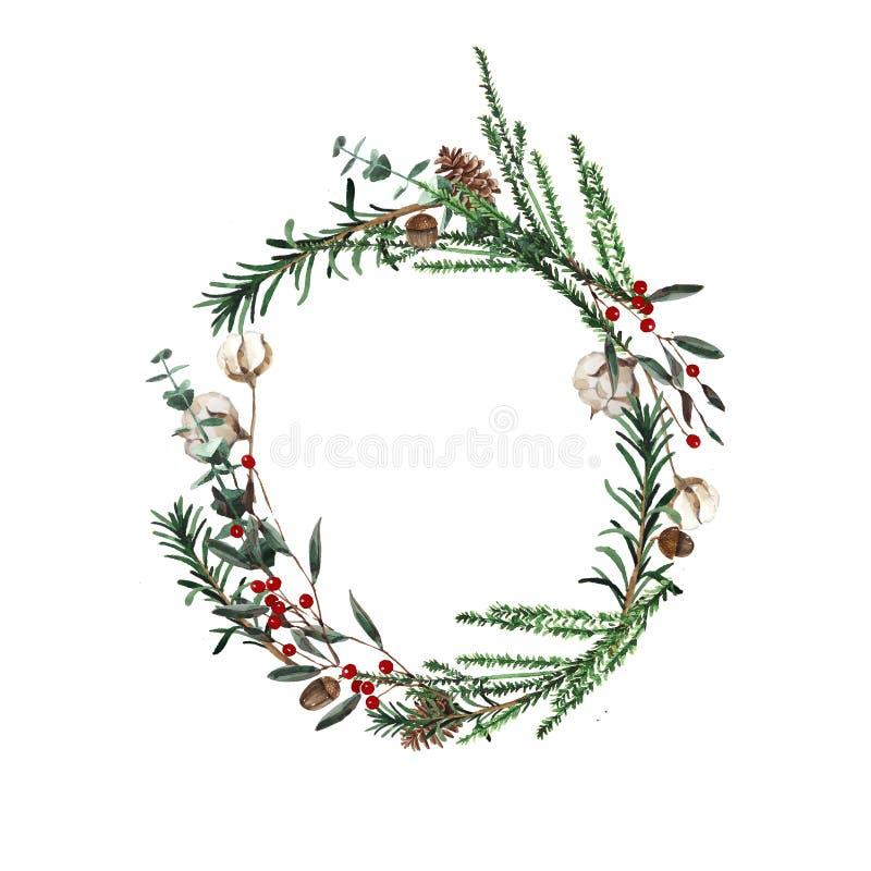 Венок с ветвями сосны и красными ягодами, хлопком и конусами сосны Круглая рамка для рождественских открыток и иллюстрации дизайн иллюстрация вектора