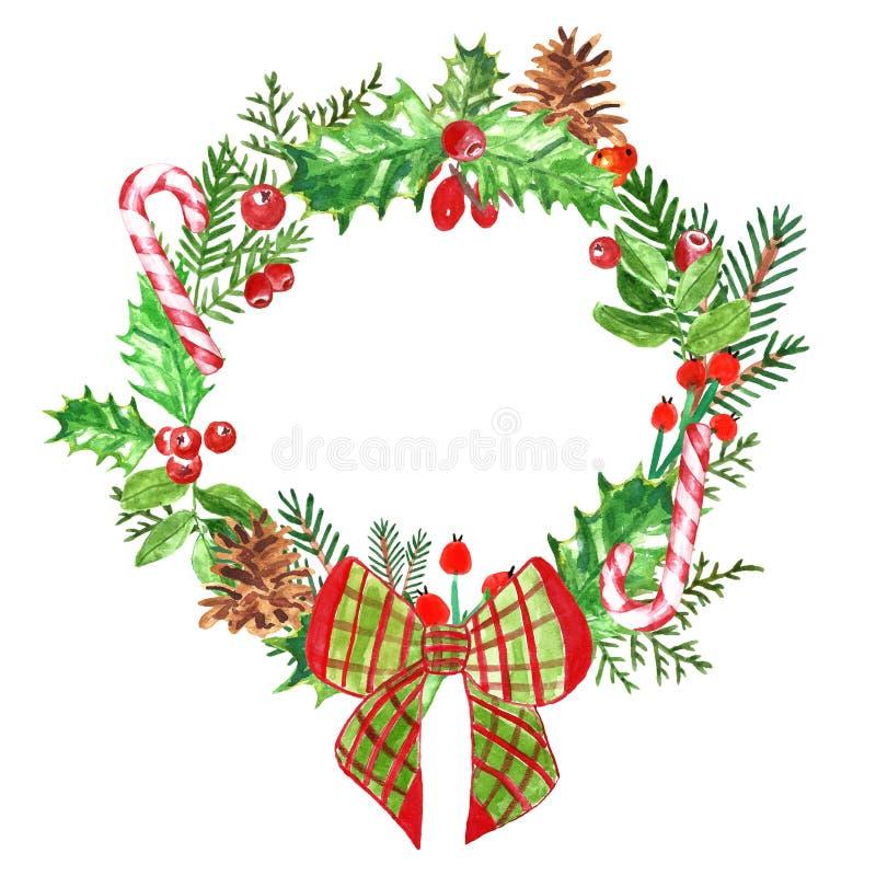 Венок с ветвями сосны, падуб рождества акварели, омела, конус сосны, тросточка конфеты Оформление зимнего отдыха на белой предпос бесплатная иллюстрация