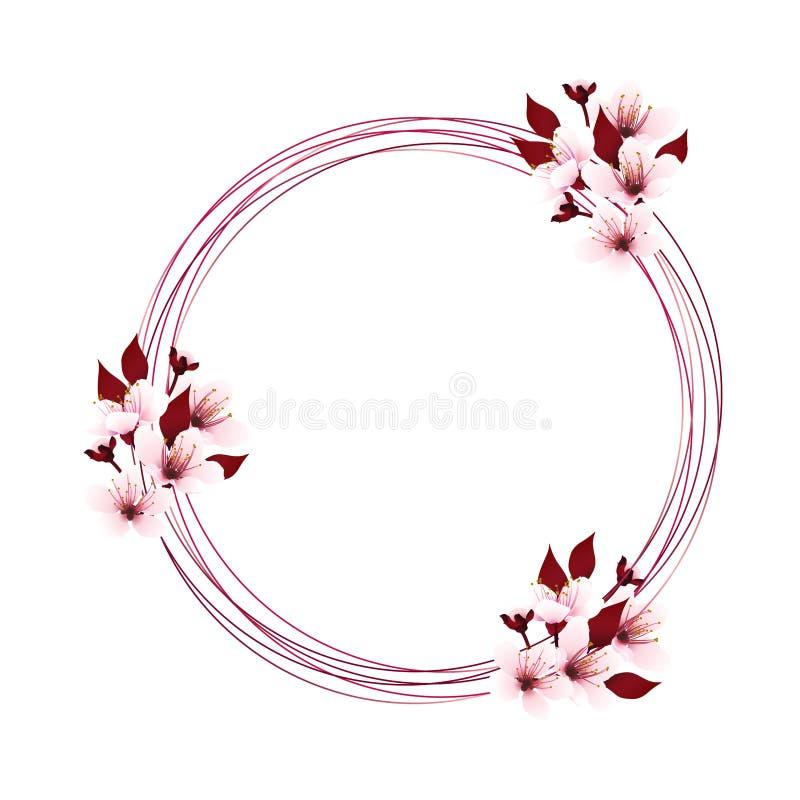 Венок с вишневым цветом иллюстрация вектора
