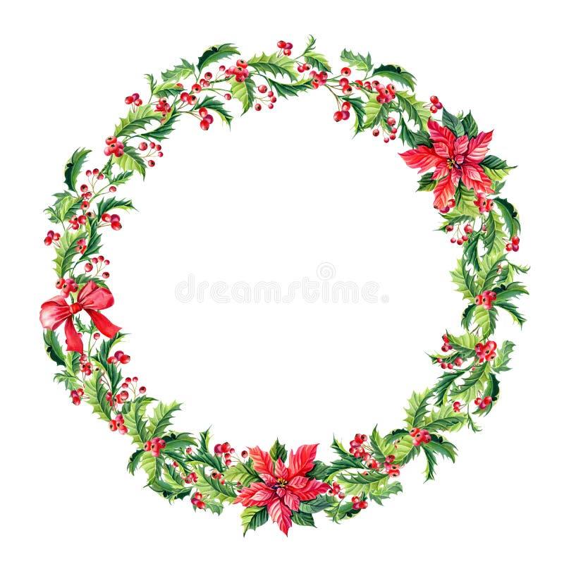 Венок с красными цветками poinsettia, падуб веселого рождества акварели, листья, ягоды бесплатная иллюстрация