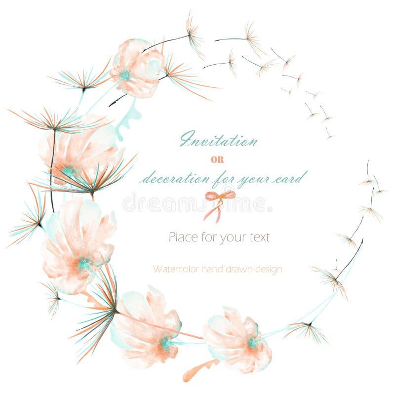 Венок с пинком акварели и мята проветривают цветки и fuzzies одуванчика, wedding дизайн, поздравительную открытку или приглашение иллюстрация вектора