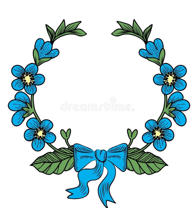Венок с цветками иллюстрация вектора