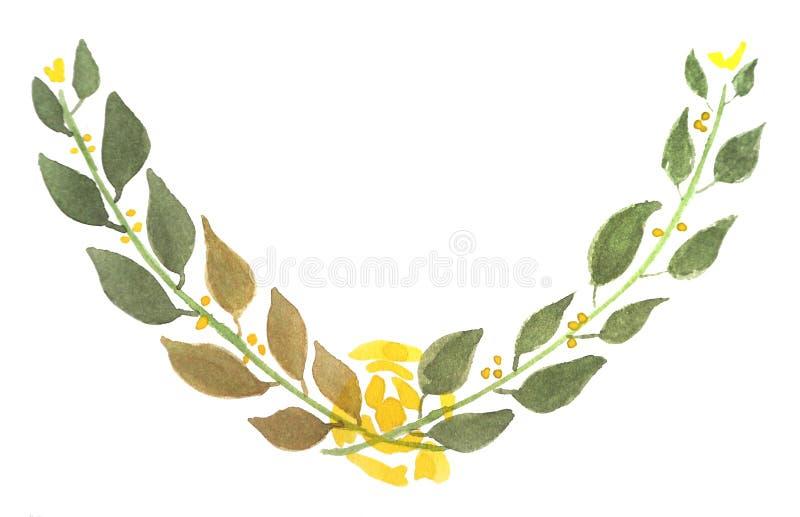 Венок 3 цвета воды флористический иллюстрация вектора