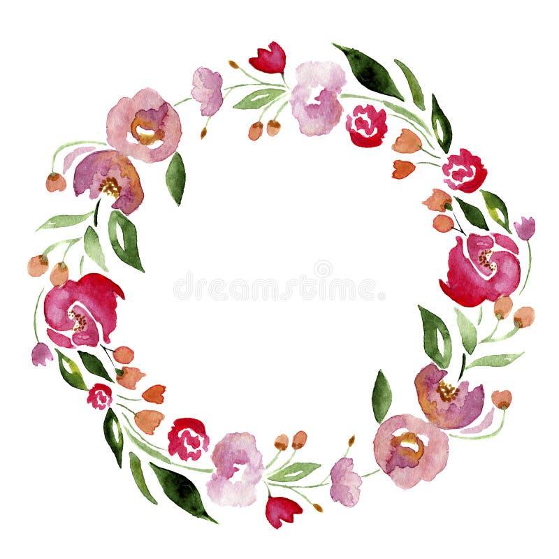 Венок цветка акварели нарисованный вручную для дизайна Художническая изолированная иллюстрация