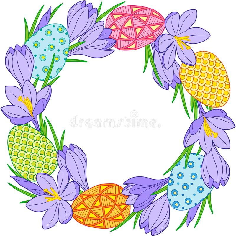Венок цветка весны крокусов и пасхальных яя Изолированные элементы вектора иллюстрация вектора