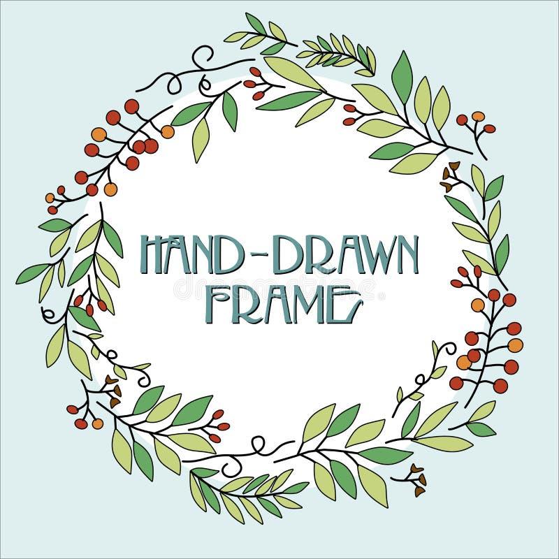 Венок цветка Поздравительная открытка с нарисованным вручную венком рождества приглашение рождества ретро иллюстрация вектора