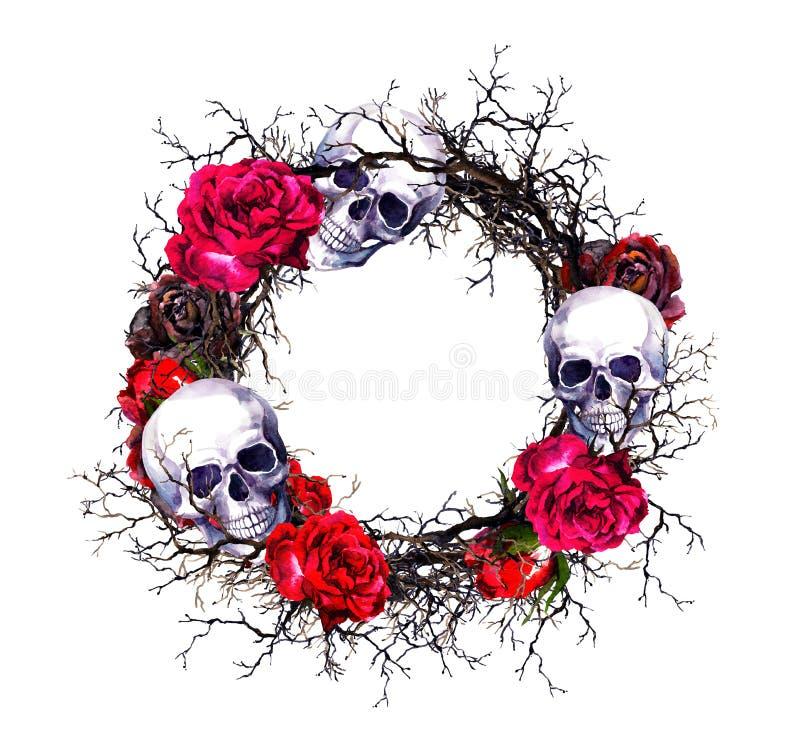 Венок - черепа, красные розы, ветви Граница grunge хеллоуина акварели бесплатная иллюстрация