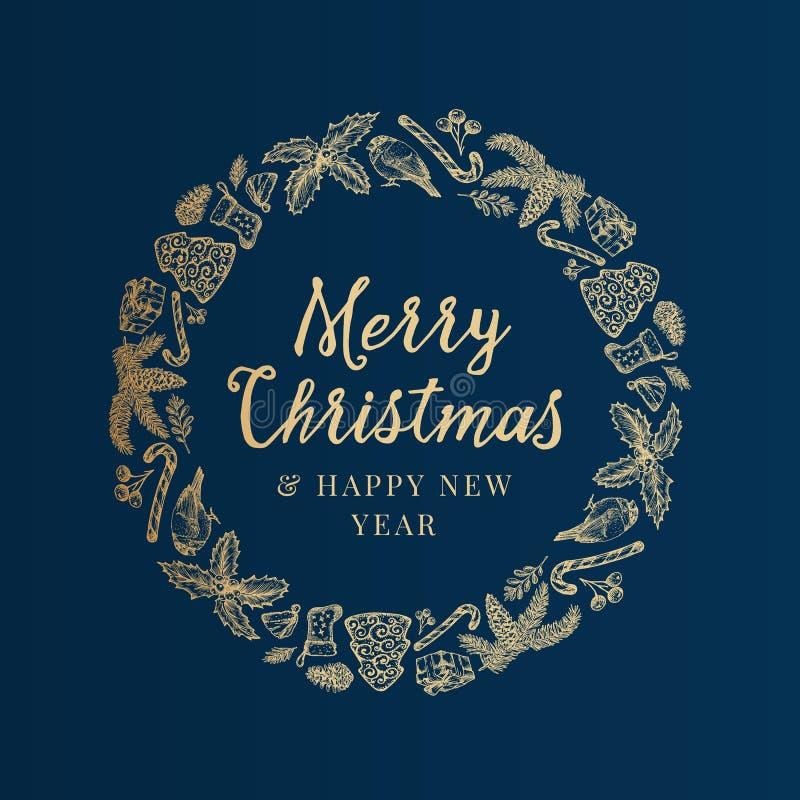 Венок эскиза веселого рождества и С Новым Годом! руки вычерченные, знамя или шаблон карты Абстрактный ярлык вектора праздника с иллюстрация вектора