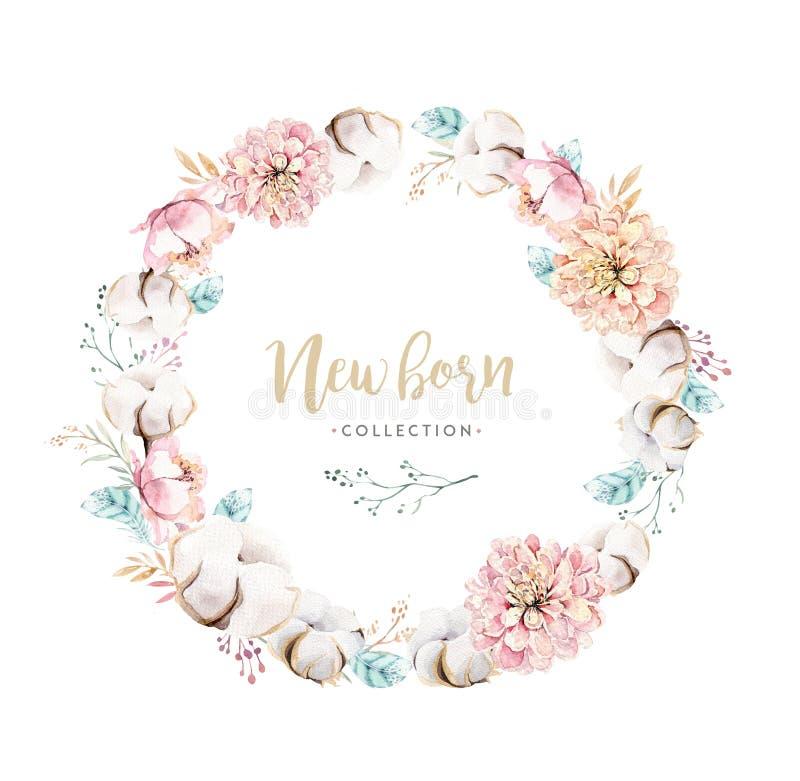 Венок boho акварели флористический с хлопком Богемская естественная рамка: листья, пер, цветки, изолированные на белизне иллюстрация вектора