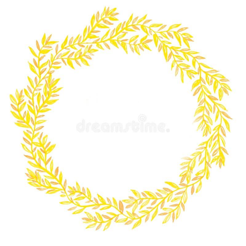 Венок Handmade акварели флористический с меньшими листьями желтого цвета и карамельки, в sketchbook бесплатная иллюстрация