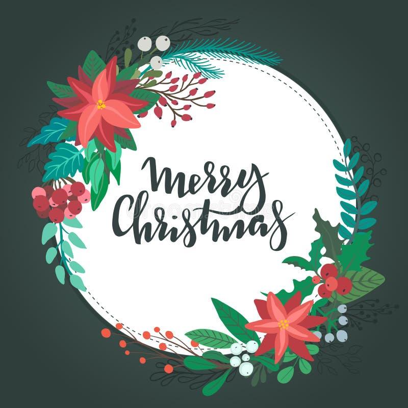 Венок ith поздравительной открытки веселого рождества флористический бесплатная иллюстрация