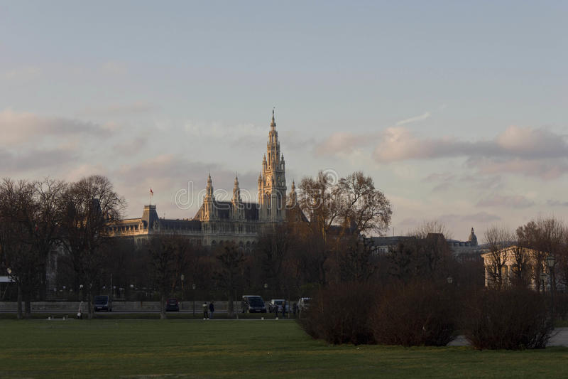 Венское здание ратуши на времени захода солнца стоковое фото rf