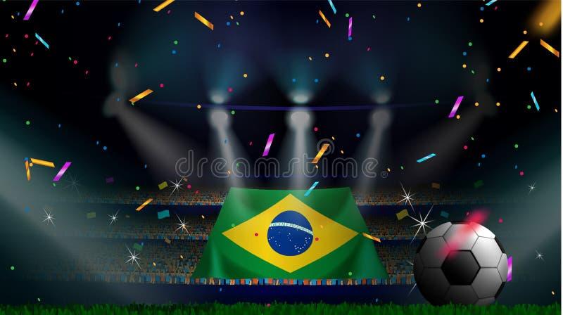 Вентиляторы держат флаг Бразилии среди силуэта аудитории толпы в футбольном стадионе с confetti для того чтобы отпраздновать футб бесплатная иллюстрация