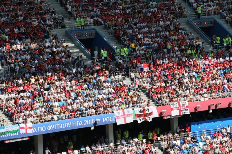 Вентиляторы кубка мира Панамы Англии - 2018 стоковое фото rf