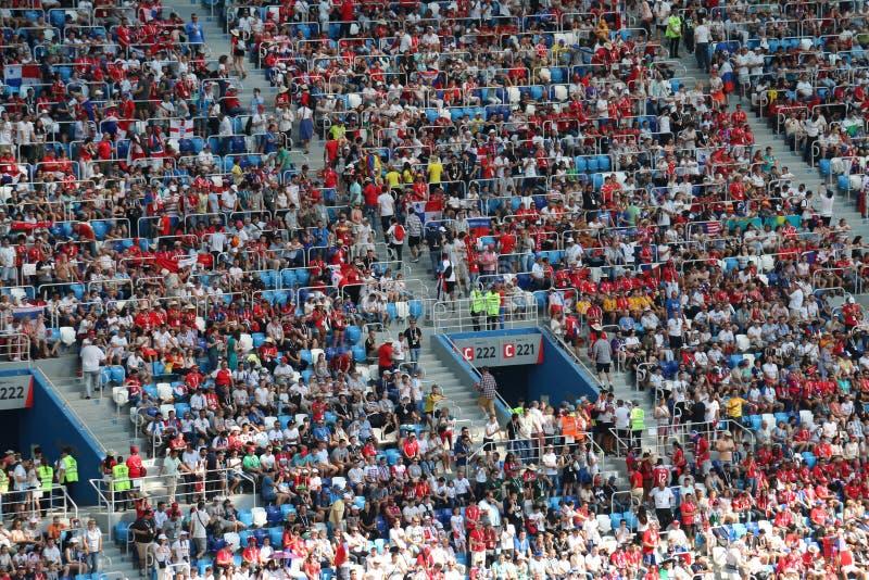 Вентиляторы кубка мира Панамы Англии - 2018 стоковая фотография rf