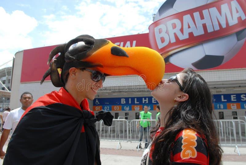 Вентиляторы футбольной команды Flamengo стоковое фото