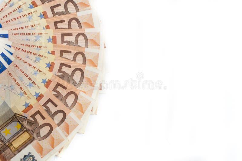 Вентилятор 50 банкнот евро изолированный на белой предпосылке стоковые фотографии rf