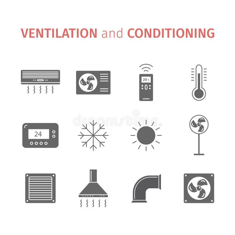 Вентиляция и подготовлять Комплект значка контроля климата также вектор иллюстрации притяжки corel бесплатная иллюстрация