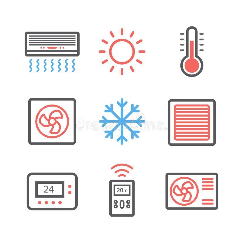 Вентиляция и подготовлять Комплект значка контроля климата также вектор иллюстрации притяжки corel иллюстрация вектора