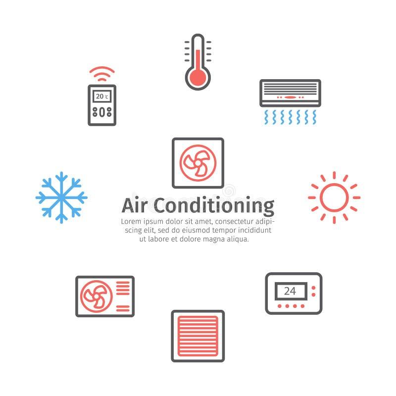 Вентиляция и подготовляя знамя Набор значка контроля климата r иллюстрация вектора