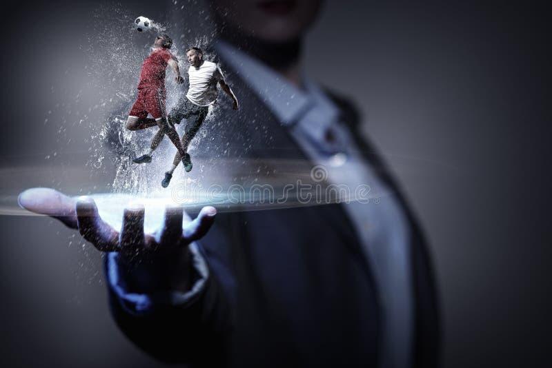 Вентилятор футбольной игры Мультимедиа стоковые изображения