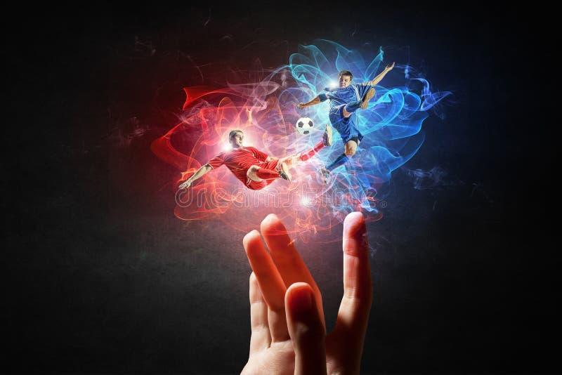 Вентилятор футбольной игры Мультимедиа стоковое фото