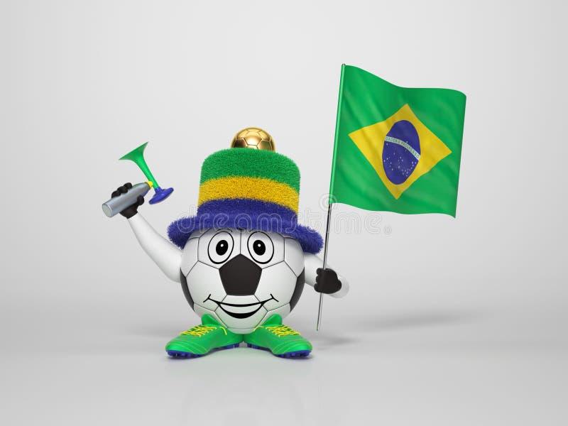 Вентилятор характера футбола поддерживая Бразилию бесплатная иллюстрация